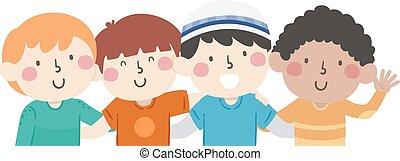 gosse, diversité, garçons, amis, illustration