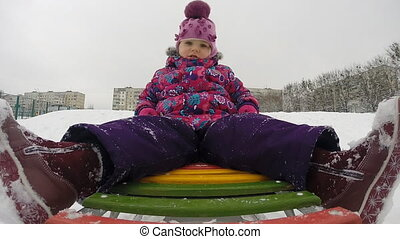 gosse, mouvement, jouer, enfant, lent, sledding, fracas