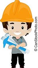 gosse, outils, tenue, ingénieur