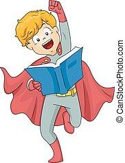 gosse, superhero, garçon, livre