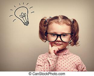 gosse, tête, pensée, idée, au-dessus, ampoule, lunettes, heureux