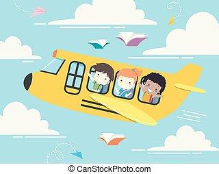 gosses école, étudiant, illustration, avion