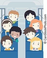 gosses école, autobus, illustration, étudiant, intérieur