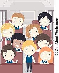 gosses école, autobus, illustration, uniforme, étudiant