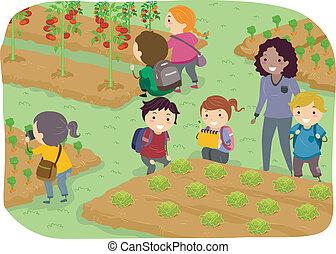 gosses école, stickman, jardin, légume, voyage