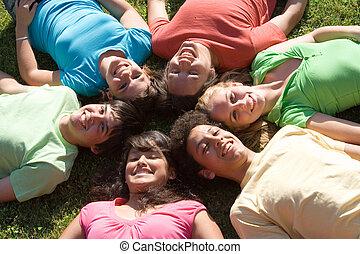 gosses été, groupe, camp, divers, sourire heureux