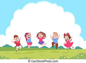 gosses été, groupe, nature, enfants, children., vecteur, fond, actif, clouds., jouer, dessin animé, préscolaire, heureux