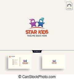 gosses, étoile, idée commerciale, illustration, créatif, vecteur, gabarit, logo, carte