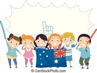 gosses, acclamation, bulle, stickman, parole, australien