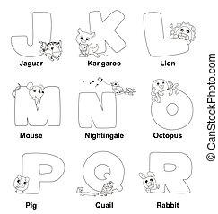 gosses, alphabet, coloration, j, r
