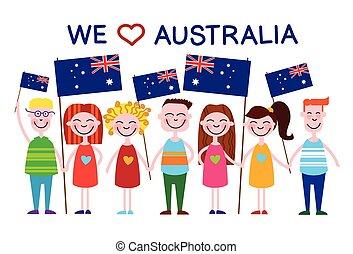 gosses, amour, pays, national, jour, drapeau, australie, enfants