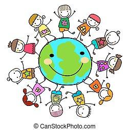 gosses, autour de, terre planète, jouer, heureux