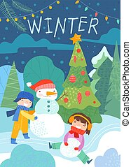 gosses, bonhomme de neige, hiver, coloré, scène