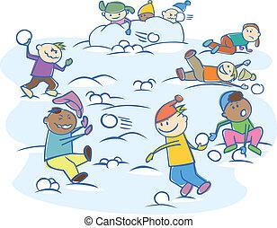 gosses, boules neige, jouer, isolé