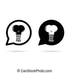 gosses, chapeau, illustration, parole, gratuite, bulle, manger