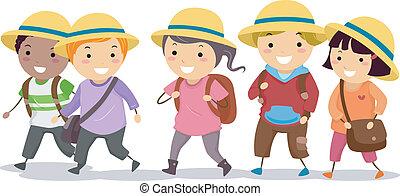 gosses, chapeau, uniforme