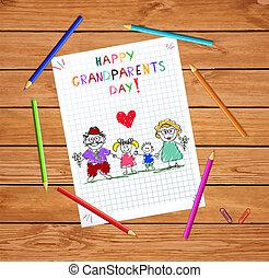 gosses, coloré, grands-parents, illustration, main, vecteur, grandparends, dessiné, enfants, jour