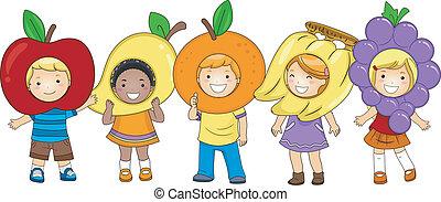 gosses, costumes, fruits