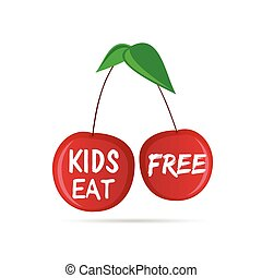 gosses, couleur, cerise, illustration, gratuite, manger, rouges