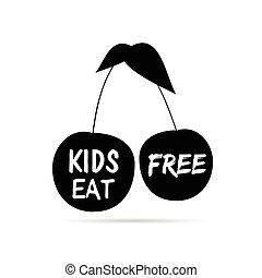 gosses, couleur, cerise, illustration, noir, gratuite, manger