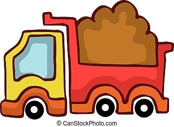 gosses, décharge, vecteur, camion, conception, dessin animé
