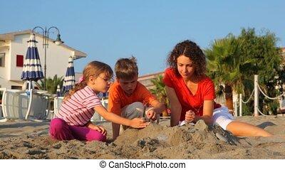 gosses, deux, sable, tas, maman, confection