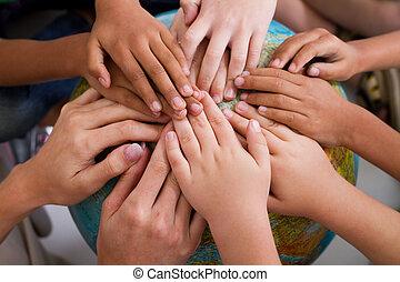 gosses, diversité, ensemble, mains