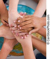 gosses, diversité, mains