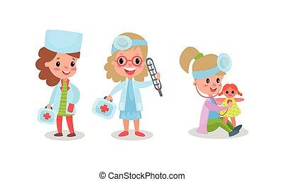 gosses, docteur, ensemble, vecteur, illustration, jouer, adorable, infirmière