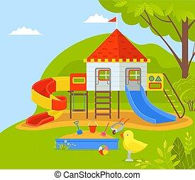 gosses, dreamland, parc, cour de récréation, enfants