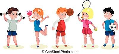 gosses, ensemble, dessin animé, caractères, sports