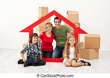 gosses, famille, en mouvement, nouvelle maison, heureux