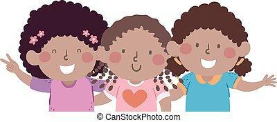 gosses, filles, amis, illustration, africaine