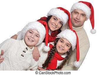 gosses, fond, famille, chapeaux, santa, blanc
