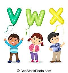 gosses, formé, lettre, dessin animé, tenue, ballons, vwx