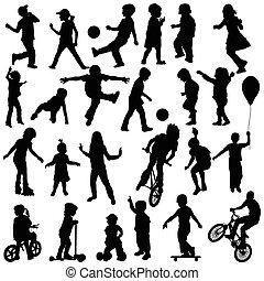gosses, groupe, main, dessiné, actif, sillhouettes, enfants, jouer