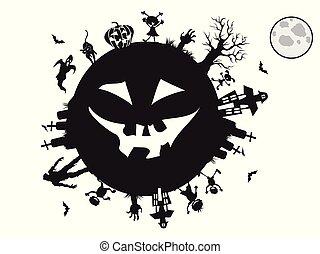 gosses, halloween, autour de, fond, jouer
