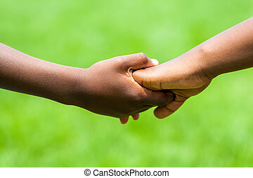 gosses, hands., détail, tenue, africaine