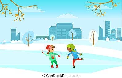 gosses, hiver, baston, boule de neige, amusement, fetes, jouer