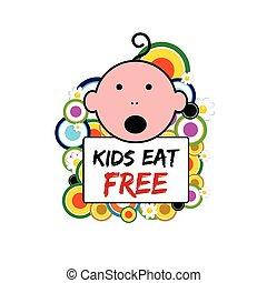 gosses, il, illustration, gratuite, bébé, bannière, manger
