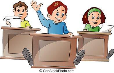 gosses, illustration, école