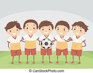 gosses, illustration, équipe, football, stickman, intérieur