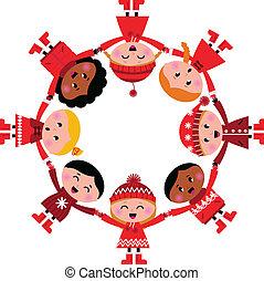 gosses, illustration., circle., vecteur, sourire heureux, dessin animé, hiver