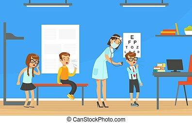 gosses, illustration, pédiatre, examiner, tousser, femme, vecteur