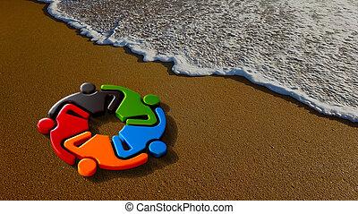 gosses, illustration, rendre, ensemble., plage, 3d