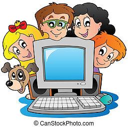 gosses, informatique, chien, dessin animé