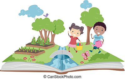 gosses, jardinage, haut, illustration, livre, pop, stickman