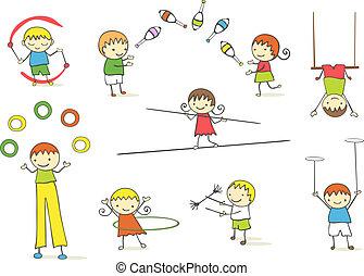 gosses, jonglerie