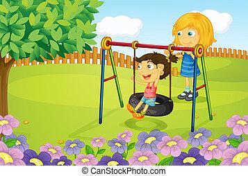 gosses, jouer, balançoire, jardin