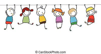 gosses, jouer, heureux